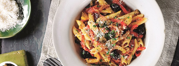recipe image Italian Penne Pasta with Peppers, Capers & Olives