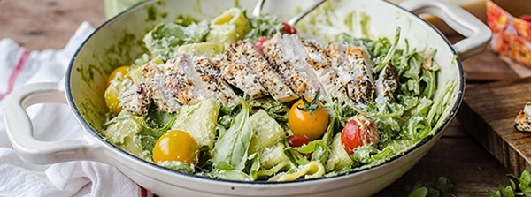 recipe image Pesto Pasta with Grilled Chicken, Cherry Tomatoes and Rocket
