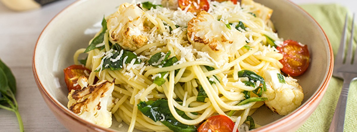 recipe image Becca's Buttery Spinach and Roasted Cauliflower Spaghetti