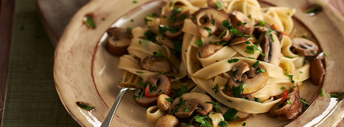 recipe image Tagliatelle Pasta Recipe with Garlic Mushrooms