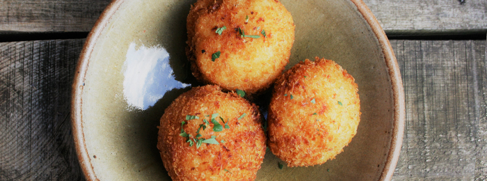 recipe image Crumbs' Parsley Pesto Aranchini Balls