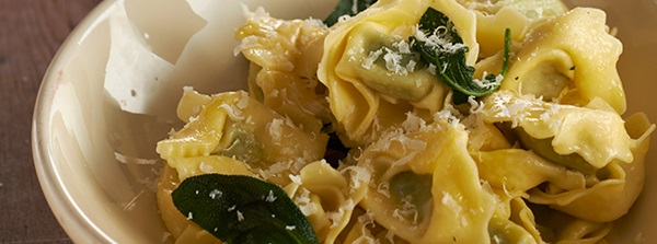 recipe image Ricotta & Lemon Ravioli served with Bertolli with Butter and Mint sauce