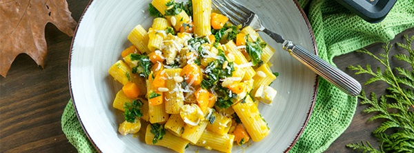 recipe image Andrea's Chicken, Kale & Pumpkin Pasta with Sage-Garlic Butter Sauce