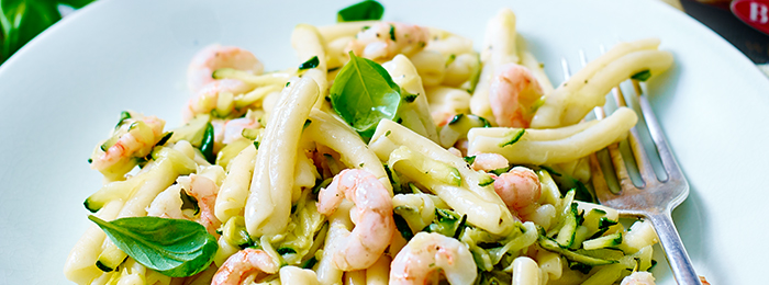 recipe image Casarecce with Courgettes and Prawns