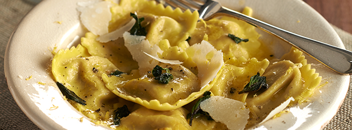 recipe image Spinach & Ricotta Filled Pasta with Sage Butter