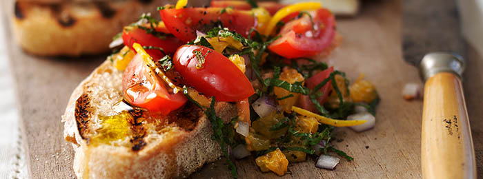 recipe image Bruschetta with Tomatoes, Orange & Mint