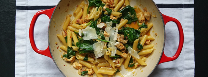 recipe image The Chiappas' Chicken, Pancetta & Spinach Penne